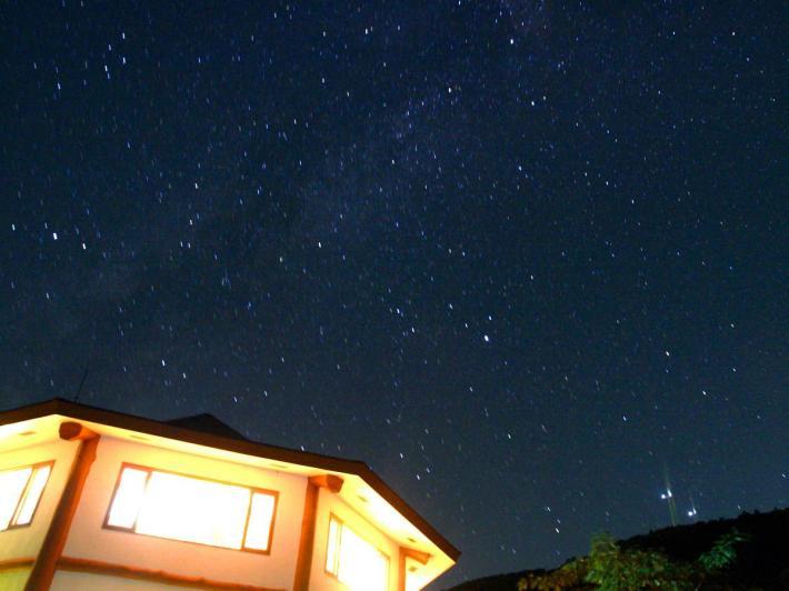 星空とログハウス